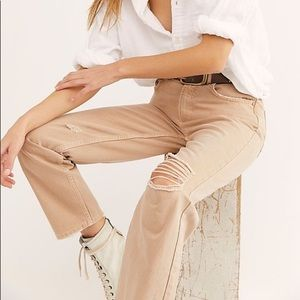 Free People High Rise Straight Leg Relax Fit Jeans